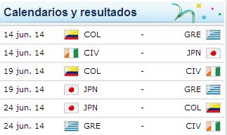 Mundial Brasil 2014 - Grupo C